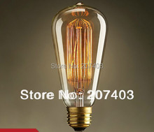 Free shipping  10pcs/lot  Vintage Edison E27 Antique bulbs for coffee bar clubs tungsten halogen bulbs ST64 AC110V 220V(China (Mainland))
