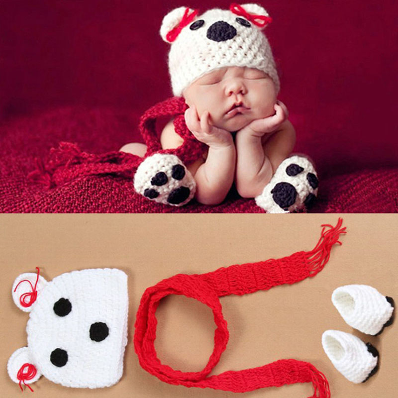 One set Infant Knitted Bear Costume Crochet Baby Photo Prop Party Shower Costumes Baby Hats Belt and shoes(China (Mainland))