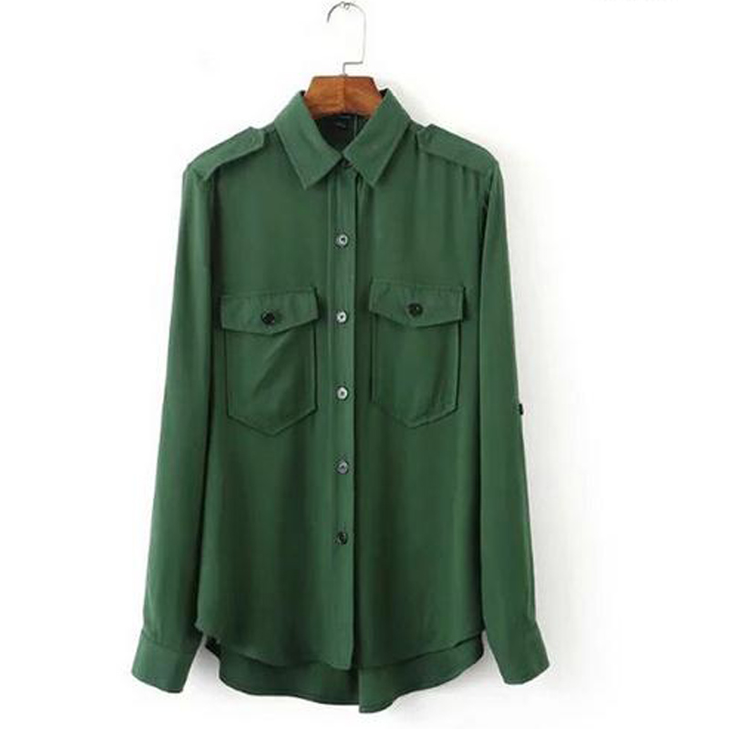 Long sleeve shirt military green blouses personality for Women s collared button up shirts