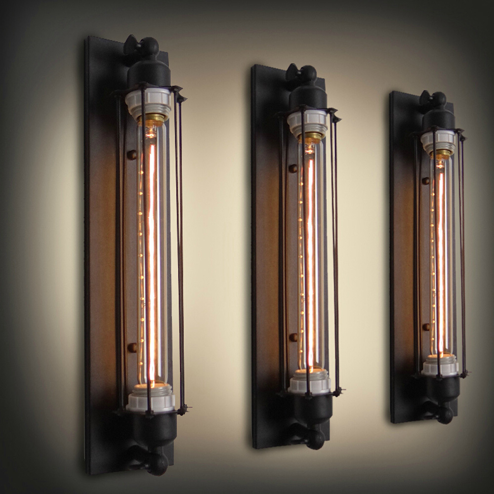 Personalized Antique Wall Light Novelty Test Tube Design Iron Black Sconce E27 Industrial Wall ...