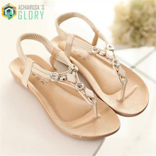 2016 Summer women sandals Flat Rhinestone Bohemia Sexy Silver Sandals Jewel Jelly Flip Flops Clip Toe beach sandalsWMSLD-715(China (Mainland))