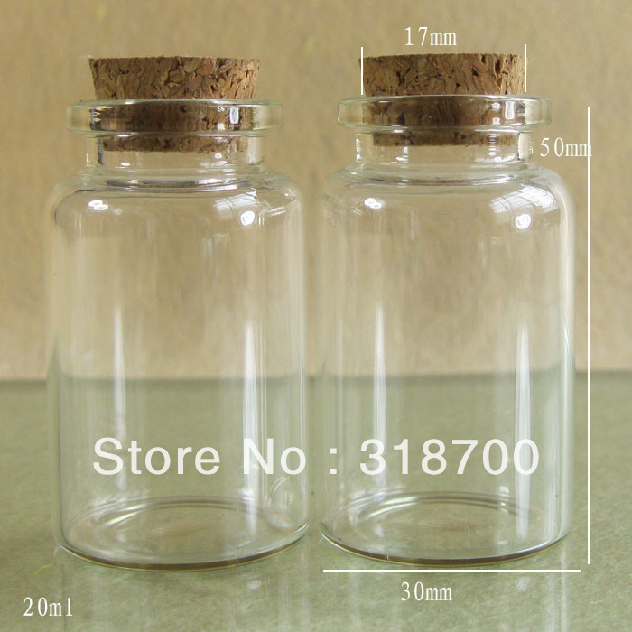(DHL)Free Shipping -20ml glass bottle with wooden cork, sample vial,glass jar<br><br>Aliexpress