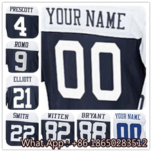 100% Stitched With Customized #4 Dak #21 Ezekiel #9 Tony #22 Emmitt #82 Jason #88 Dez Men's Black White Navy Jersey(China (Mainland))