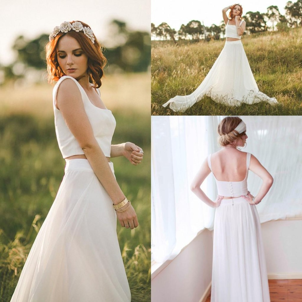 2015 two piece vintage wedding dresses bohemia beach