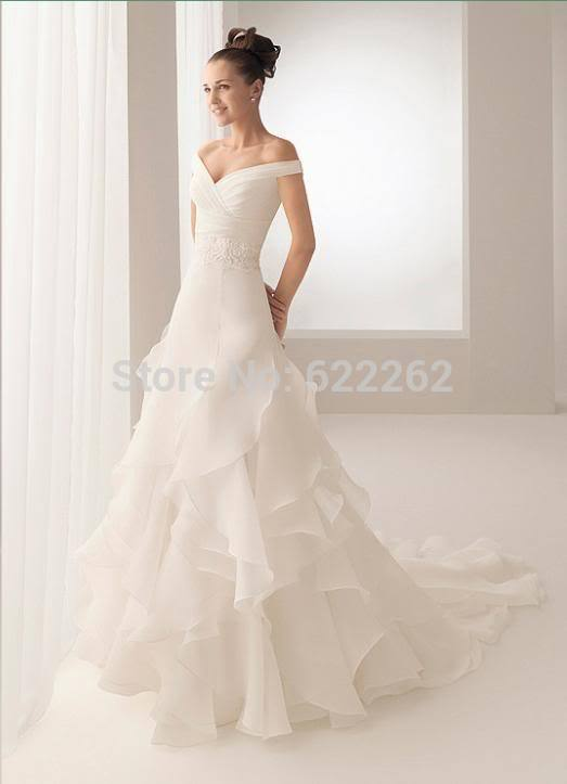 2013 new design Hot Sale elegant noble ruffles v-neck offt the shoulder delicate chiffon beading Wedding Dress(China (Mainland))