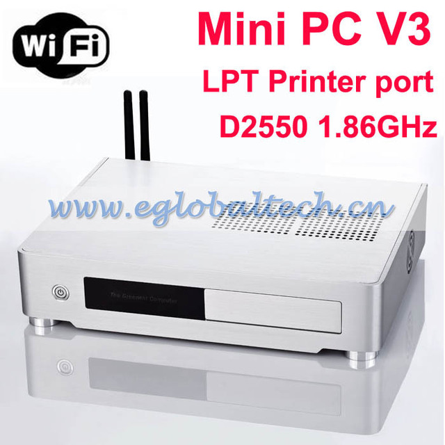Best Computer WIFI New Windows 7 Mini PC Intel D2550 HTPC Mini PC Server with LTP Printer Port 160G HDD 2G DDR3 WIFI Desktop PC