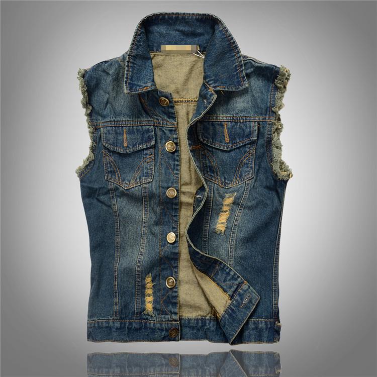 2015 New Arrival Men'S Denim Vest Brand Jeans Vest Men Cowboy Vest Denim Sleeveless Jacket Plus Size Chaleco Hombre M25(China (Mainland))