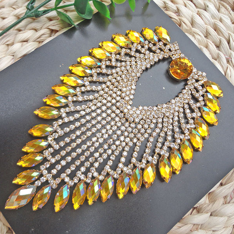 Gold Base Yellow * Crystal Stones Round Strass + Horse Eyes Resin Sewing On Wedding Rhinestones Applique(China (Mainland))