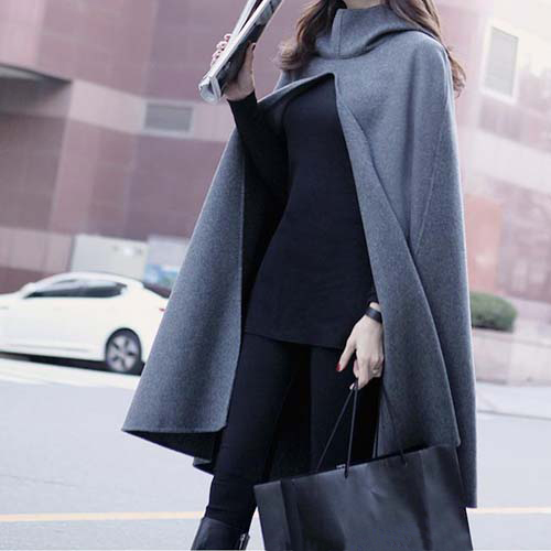 2016 women's spring autumn fashion street medium-long plus size hooded cloak cape woolen coat outerwear 8408(China (Mainland))