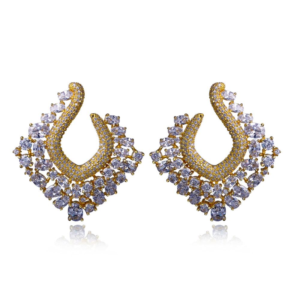 Absolutely Gorgeous Earrings! Real Platinum and Gold plate With White Cubic Zirconia Large Unusual earrings(China (Mainland))