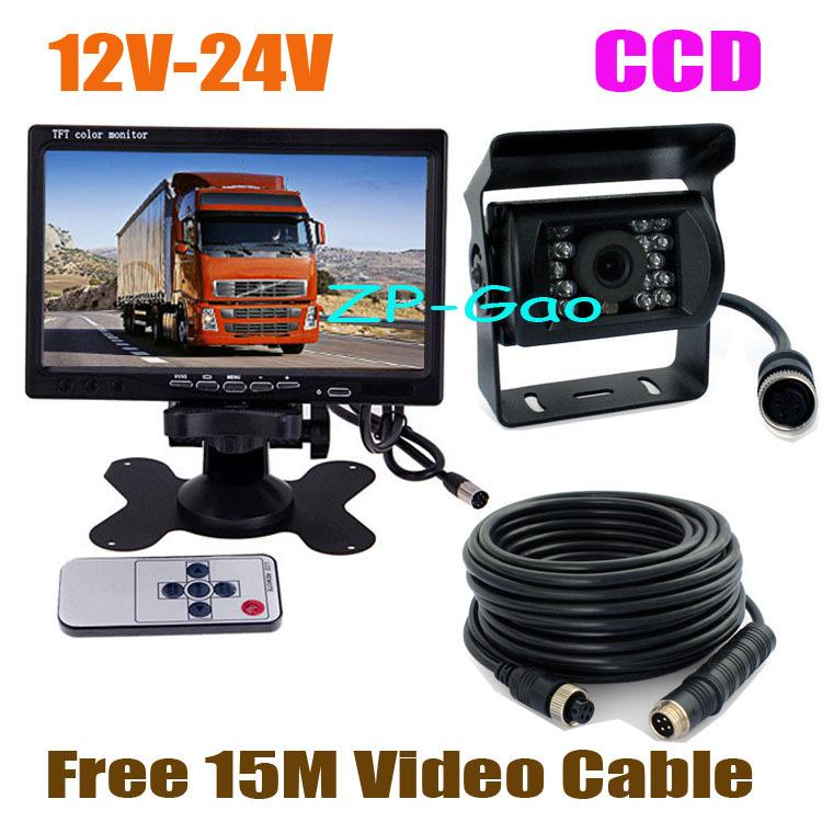 """12V-24V 7"""" LCD Monitor Bus Truck Van Rear View Kit + Waterproof 4Pin IR CCD Car Reversing Camera with 15M Cable Free Shipping(China (Mainland))"""