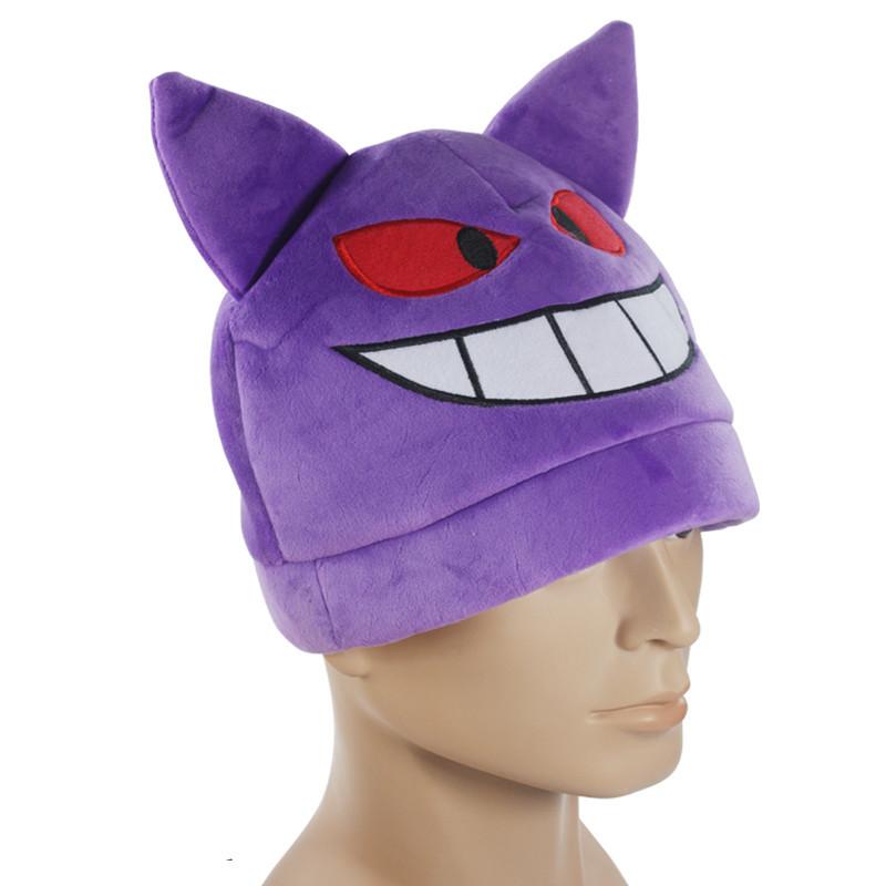 EMS 100pcs/lot Pokemon Gengar Cosplay Cap Plush Hat Warm Halloween Hat For Adult(China (Mainland))
