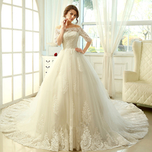 Buy Wedding Dress 2017 Bridal Plus Size Lace Long Train Half Sleeve Appliques Vintage Royal Bride Gown Dresses for $176.92 in AliExpress store