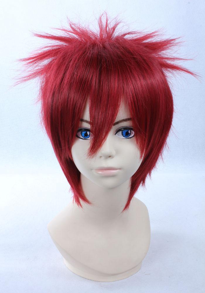 Quality Thick Short Wavy Red Cool Fashion Man Wig Naruto Sabaku no Gaara Akasuna Sasori Cosplay Wigs(China (Mainland))