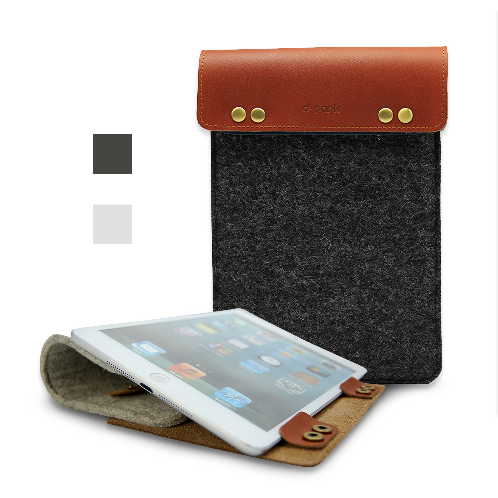 D-park Fashionable Wool felt & Genuine Cow Leather Sleeve Pouch Case For iPad Apple mini 4/3 7.9 inch Tablet cover bags(China (Mainland))