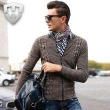 Men Luxury Brand Zipper Knitted Cardigan for Men Spring Sweaters Men V-neck Cardigan Man Knitwear(China (Mainland))