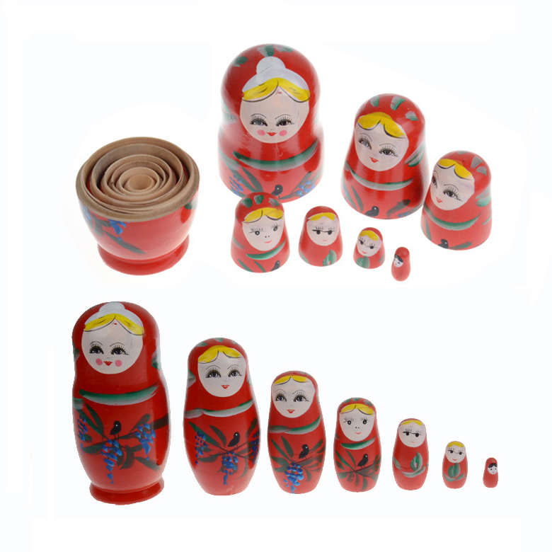 Russian Nesting Matryoshka Dolls Ethnic Dolls Fashion 7 Piece Wooden Doll Set Hand Paint Home Decoration Wooden Toy For Souvenir(China (Mainland))