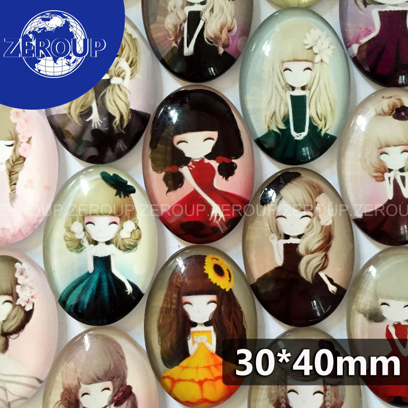 30*40mm oval glass cabochon new girl pictures mixed pattern fit cameo base setting for jewelry flatback 10pcs/lot(China (Mainland))