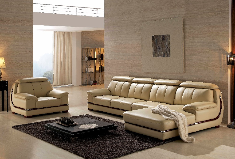 Woonkamer Meubels Set : Leather Sectional Sofa