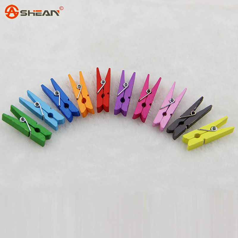 Spring Clips Random Mini Colored Wood Photo Paper Peg Pin Clothespin Craft Clips Material Wood 10pcs/lot<br><br>Aliexpress