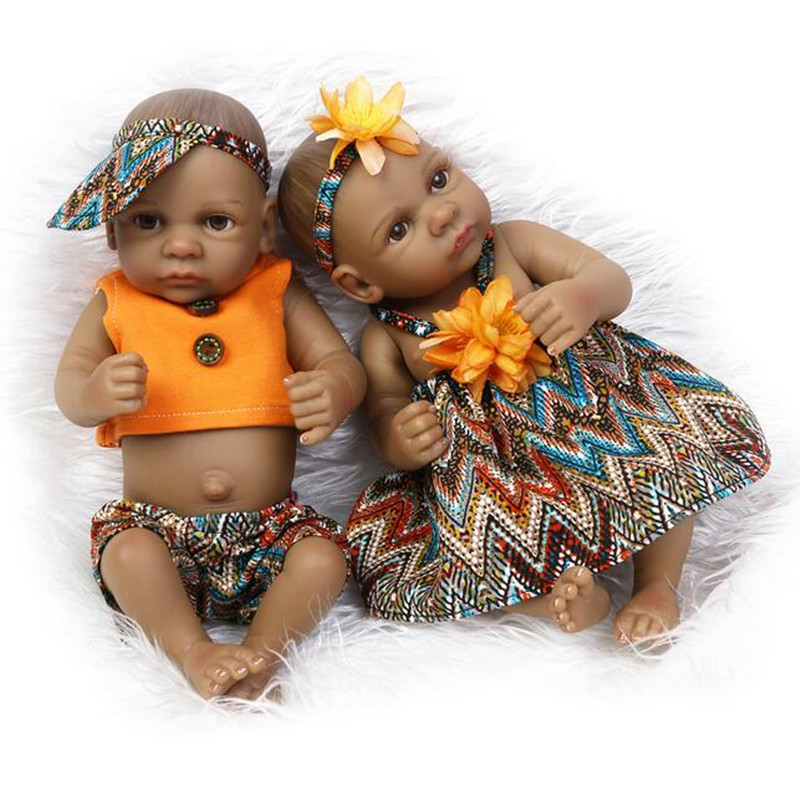 Limited 27CM Reborn Baby lovely Mini doll Play house toys Bathe Enlighten Accompany sleep toy black Ethnic Collection dolls(China (Mainland))