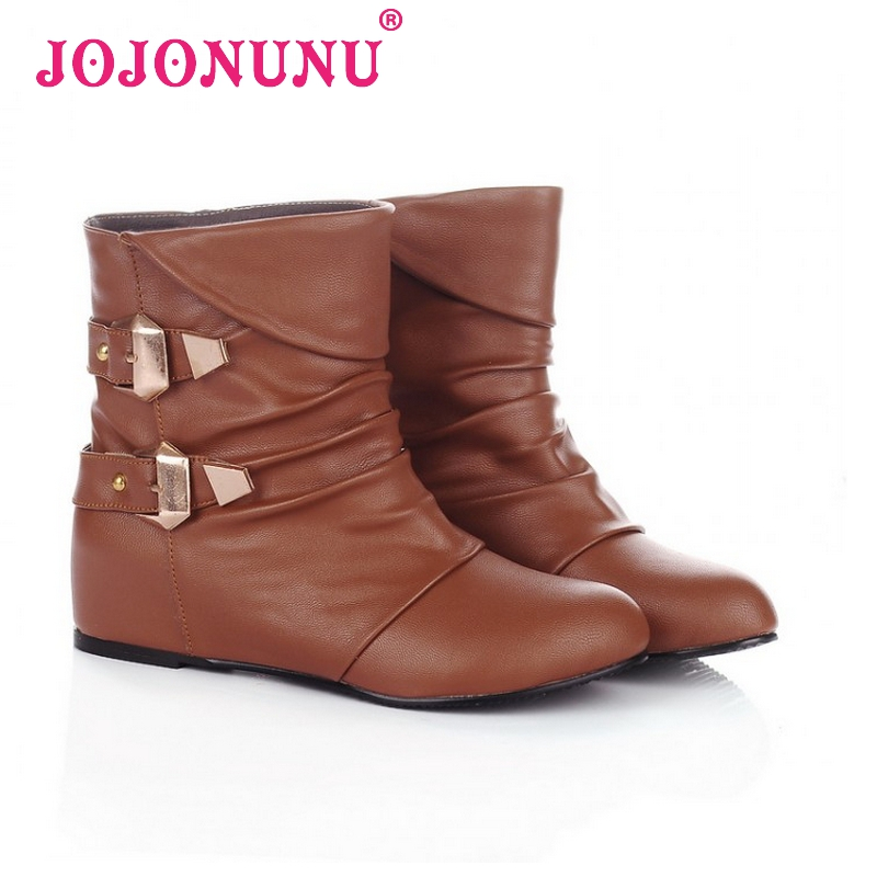 women flat half short ankle boots motorcycle autumn winter boot fashion quality footwear warm botas shoes P19767 size 34-39