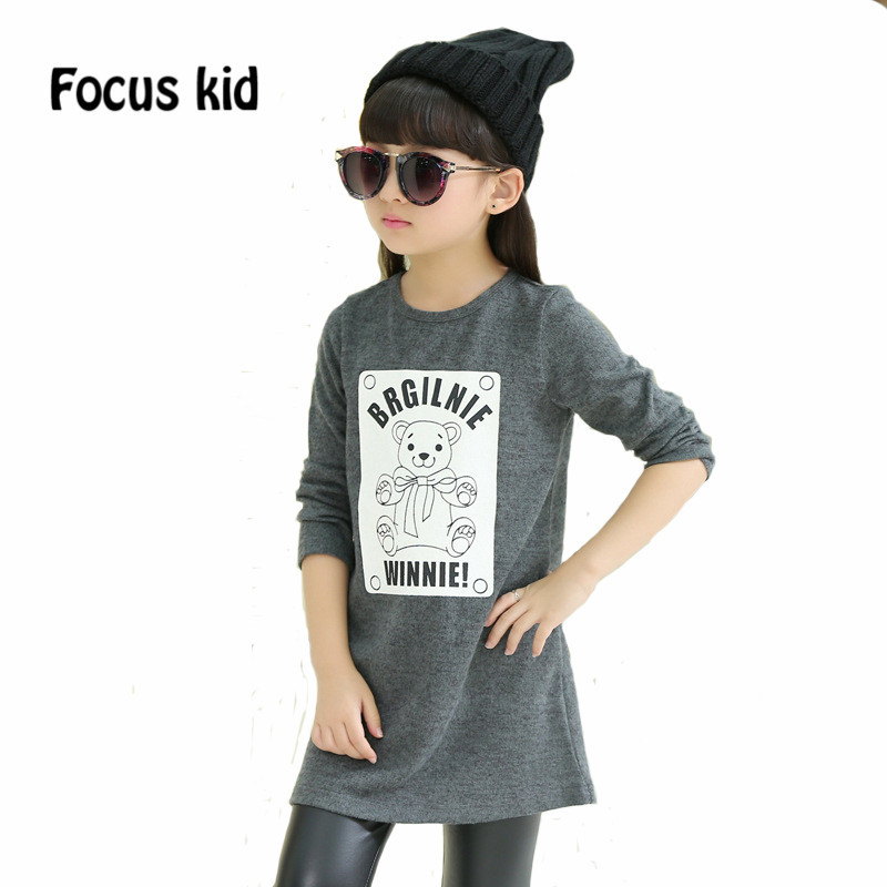 2016 Fashion Girl Dress Spring and Autumn Children Clothes The Bear Cute Kids Clothes Long Sleeve Princess Girls Clothes D3Z43(China (Mainland))
