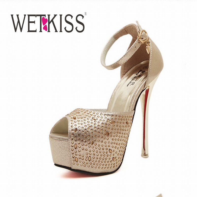 Sexy Stiletto High Heels Sandals Thick Platform Shoes Woman Rhinestone Peep Toe Sandals Summer Dating Bar Shoes(China (Mainland))