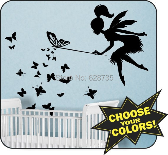 Large Size 100x80cm FAIRY Wall Sticker with Butterfly Wand Vinyl Wall Decal - kids wall sticker fairy free shipping K2066(China (Mainland))