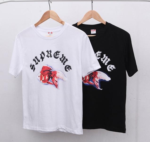 Latest Supremed T Shirt Men Women Fish T Shirts Paris Opening Box Logo Tee hiphop off white Palace Skateboards couples Tshirt(China (Mainland))