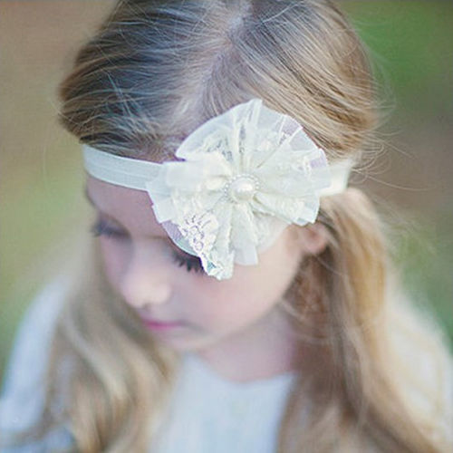 1 PCS Cute Baby Infant Girl Toddler pearl Flower Lace Headband Headwear Hair Band New Hair Accessories(China (Mainland))