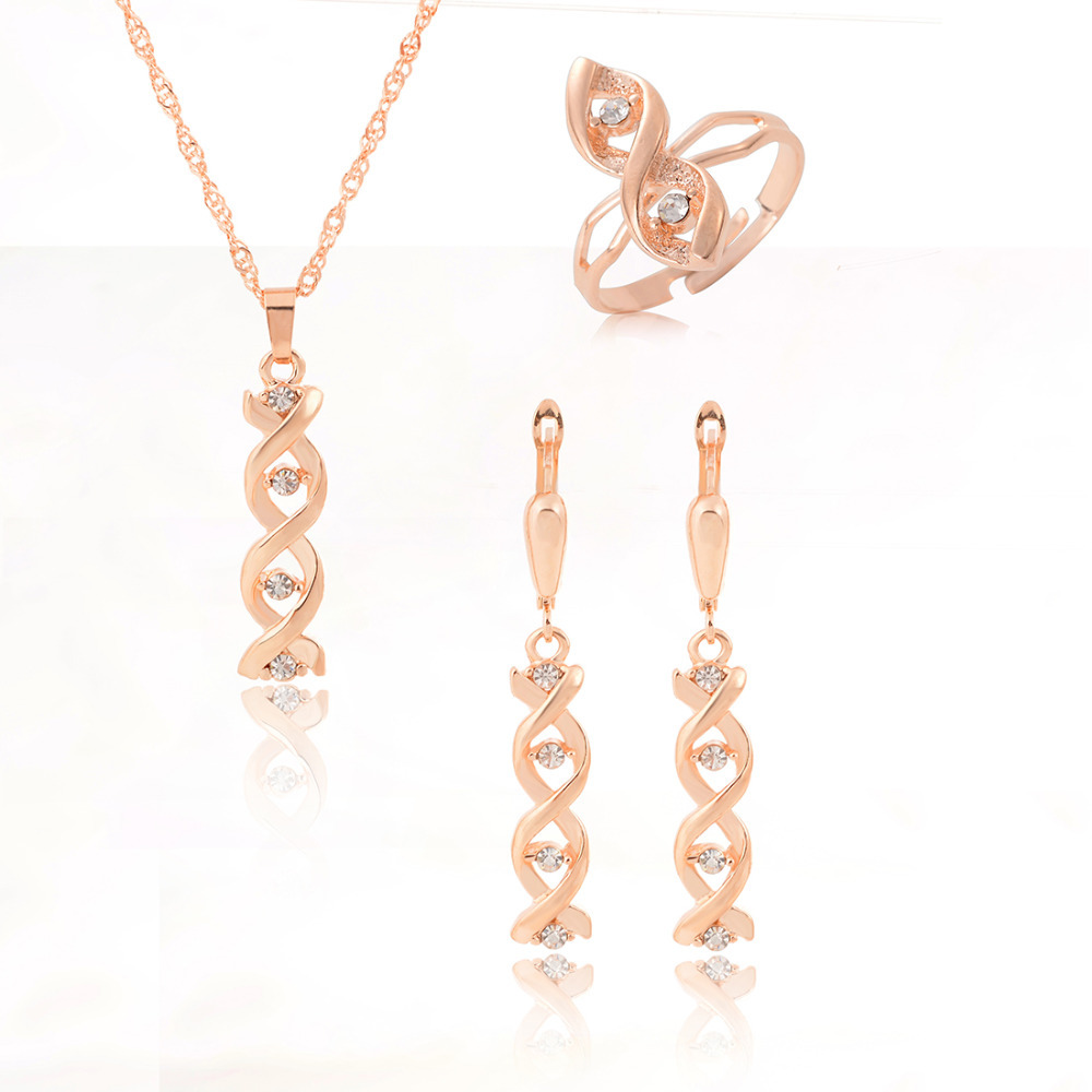 2015 Fashion Jewelry Sets 3 Pc Sets Glod Crystal Stone Pendant Necklace Earrings Ring(China (Mainland))