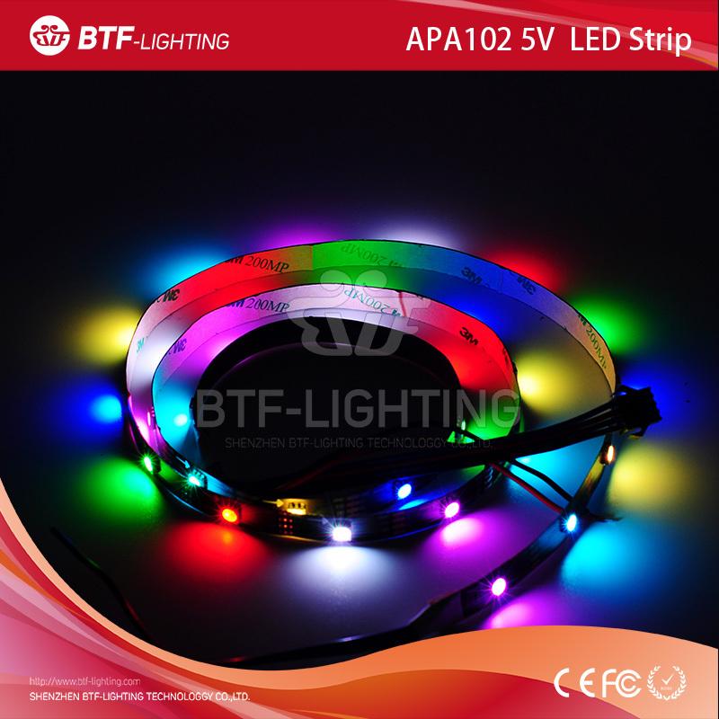 1m 30leds/m APA102 White PCB Black IP30 Non-waterproof rgb led pixel strip individually addressable DC5V SMD5050 - Shenzhen BTF-Lighting Technology Co., Limited store