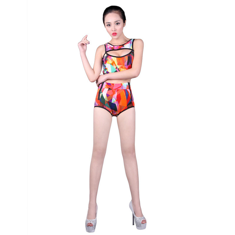 2015 All Code Generation Freeshipping Women Modal All Code Rihanna Clothes Cars Ds Costume Modern Jazz Dance Costumes Twinset(China (Mainland))