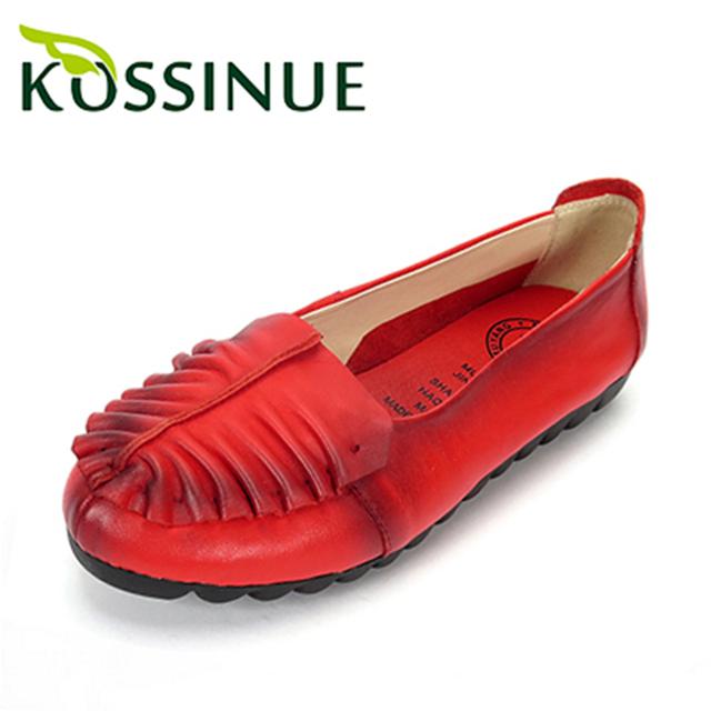 Новый натуральной кожи весной плоским пятки женская обувь ручной работы национальной ...