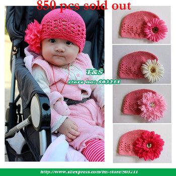 Newborn Baby CROCHET Kufi Hat Cap With Flower,GIRLS&BOYS Skullies ,Baby Spring Autumn Beanies, 21Colors ,SIZE12-24M,50pcs/lot