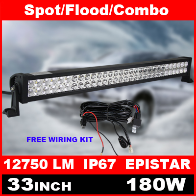 33 Inch 180W LED Light Bar + Wiring Kit for Off Road Indicators Work Driving Offroad Boat Car Truck 4x4 SUV ATV Spot Flood Combo(China (Mainland))