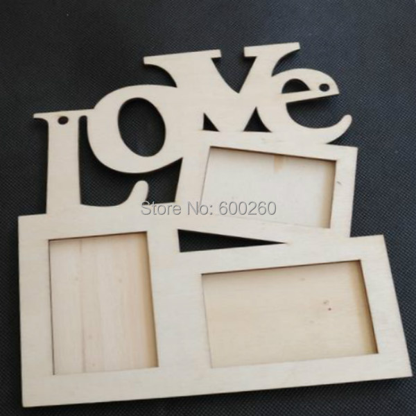 Hot sales Hollow Love Wooden Photo Frame White Base DIY Picture Frame Art Decor free shipping(China (Mainland))