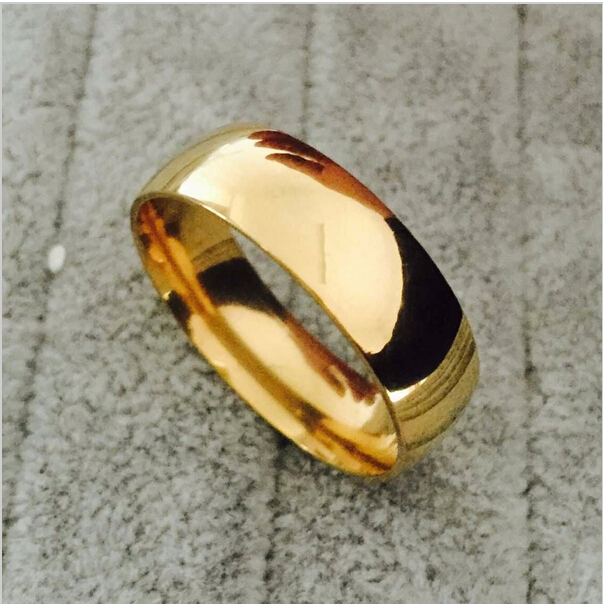 Promotion 18K gold-plated ring wedding rings for men women stainless steel couple jewelry wholesale(China (Mainland))