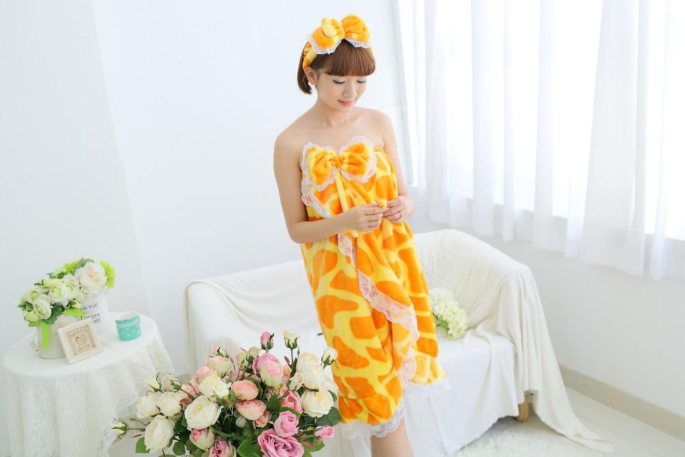 Милый трубка женская верхняя халат жираф леопардовым полотенце с бантом повязка на голову сексуальные девушки мягкой фланелевой халат ночная рубашка