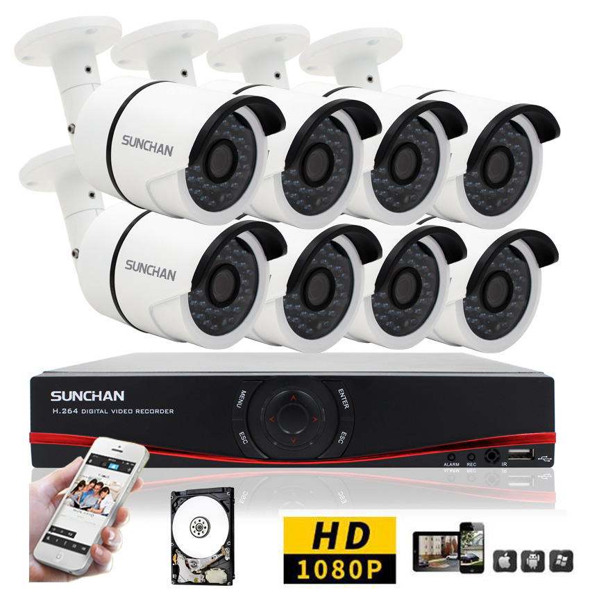SUNCHAN HD 8CH CCTV System 1080P DVR 8PCS 1080P 3000TVL SONY Outdoor Video Surveillance Security Camera System 8CH DVR Kit 1TB(China (Mainland))