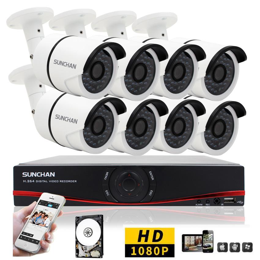 SUNCHAN HD 8CH CCTV System 1080P DVR 8PCS 1080P 3000TVL SONY Outdoor Video Surveillance Security Camera System 8CH DVR Kit 1TB(China (Mainland))