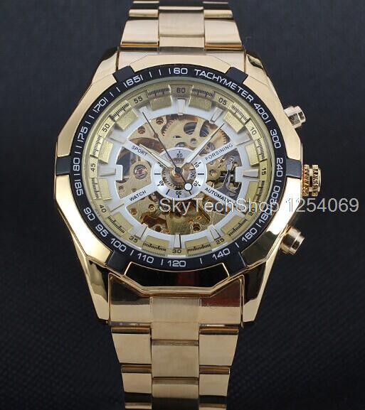 One Winner genuine fully hollow men s automatic mechanical watch steel automatic mechanical watches men Free