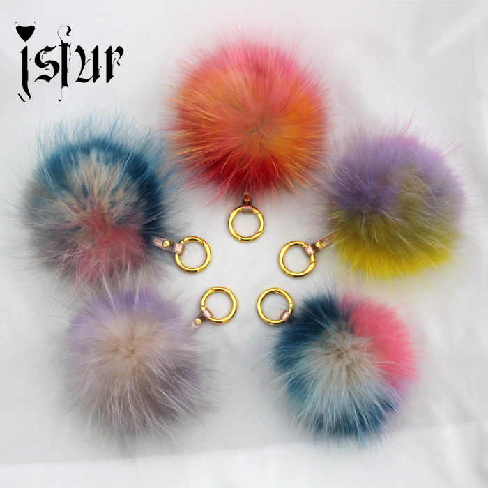 Amazing New Rainbow Color Fur Pompom Key Chain Fashion Lady Bag Charm Real Fur Bag Accessories Fur Ball Keychain(China (Mainland))
