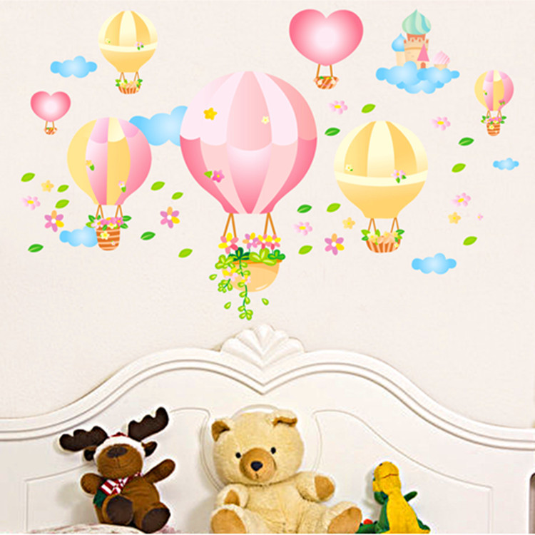 Hot Cartoon Airplane And Hot Air Balloons Removable Wall Sticker Vinyl Decals For Kids Room Boys Home Decoration Mural(China (Mainland))