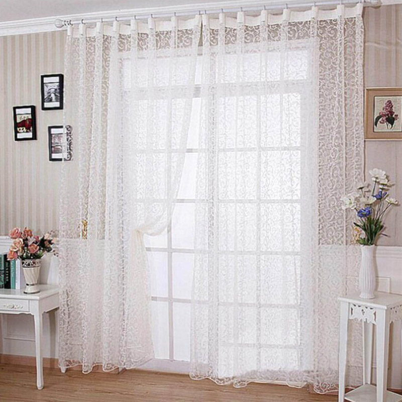 Pastoral White Embroidered Voile Curtains Bedroom Sheer