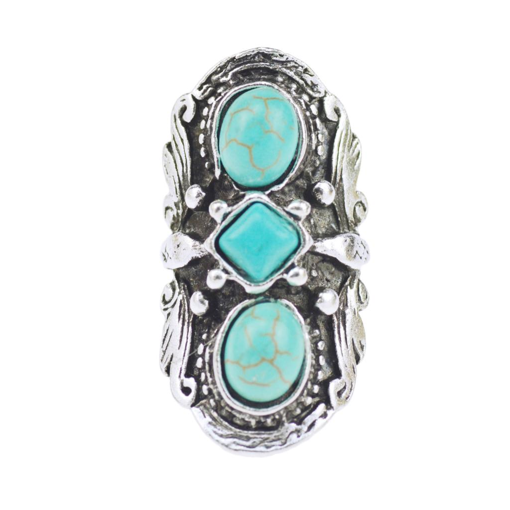 2016 Vintage Bohemian Turquoise Ring For Women Antique Silver Alloy Carving Ring Fashion Jewelry 42*21MM(China (Mainland))