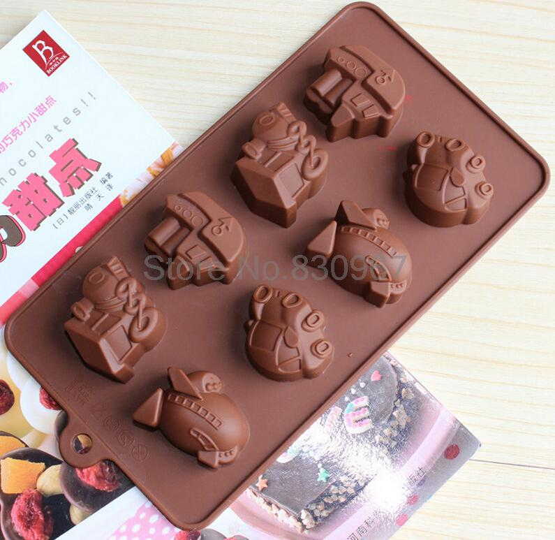 8 different traffic Transportations Silicone Cake Cookie Mold chocolate Fondant tools cupcake Biscuit Candy baking tool L042(China (Mainland))