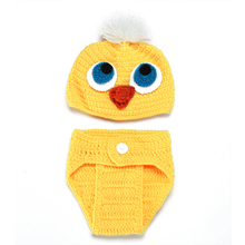 Newborn photography props crochet chick style A three-piece Baby clothing shooting(China (Mainland))