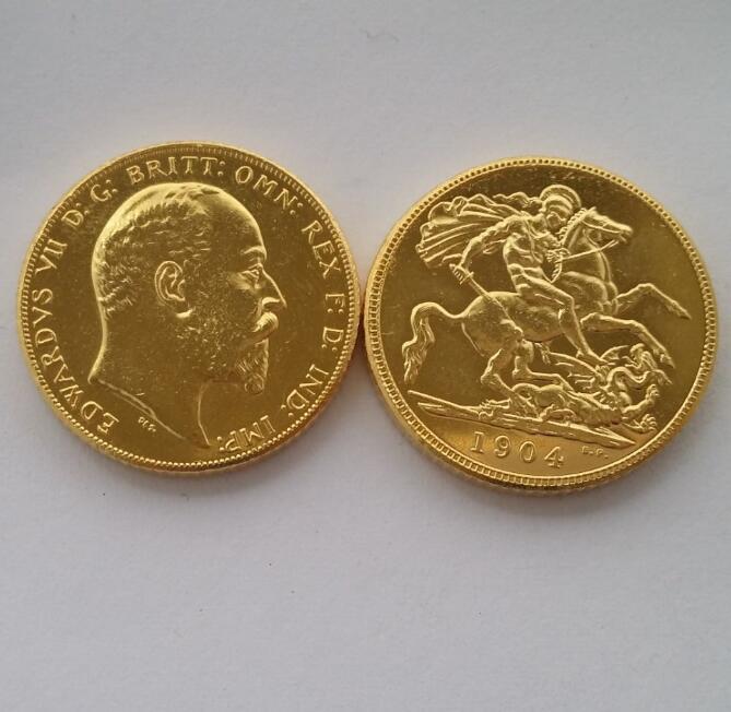 RARE 1904 KING EDWARD VII MATT PROOF GOLD 1 SOVEREIGN (1LSD) COPY COINS(China (Mainland))